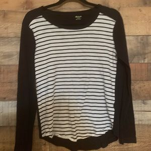 Madewell black and white striped top, size medium